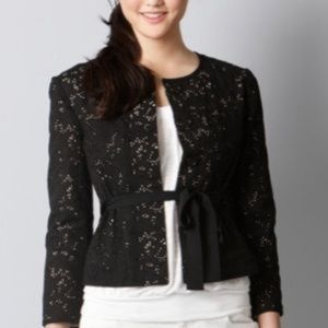 Loft Black Eyelet Blazer Jacket 0 Button Tie Beige